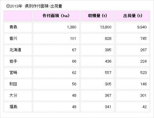 2013年 県別作付面積・出荷量