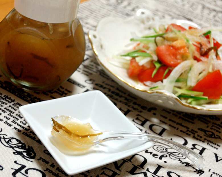 酢ニンニクで、梨のガーリックドレッシング