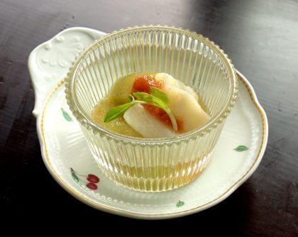 翡翠なすの炊き合わせ 梅肉ソース