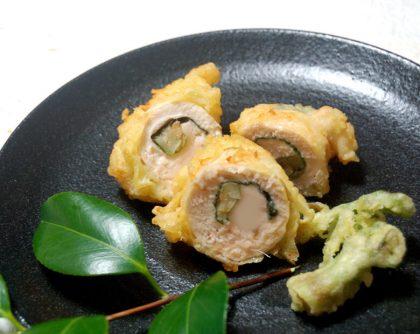 鶏ささみとタラの芽の天ぷら