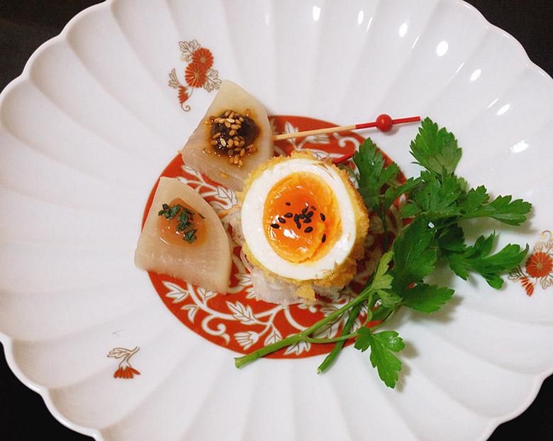 前菜 大根のピンチョスと揚げ卵