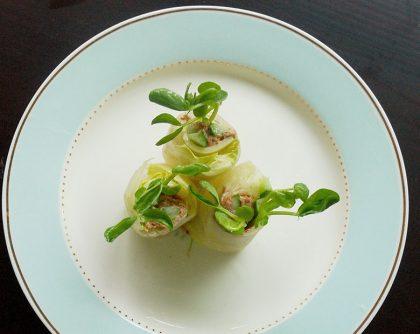 チーズときゅうり 梅のレタス春巻き
