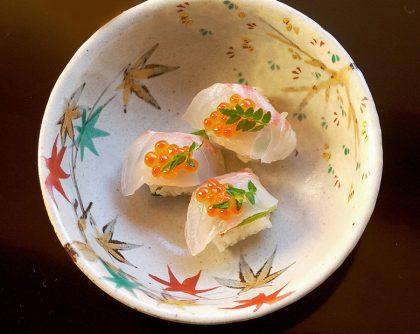 鯛といくらの握り寿司
