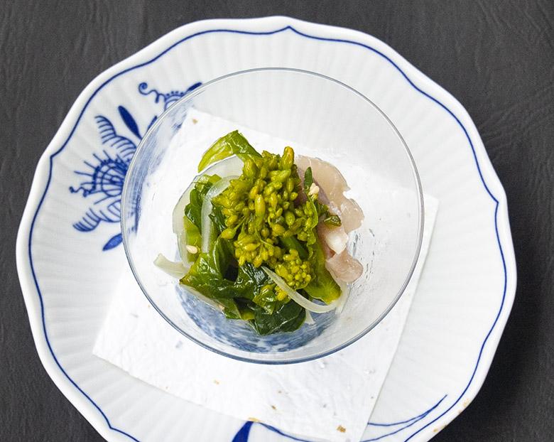 菜の花と生ハム、玉ねぎのらっきょうサラダ