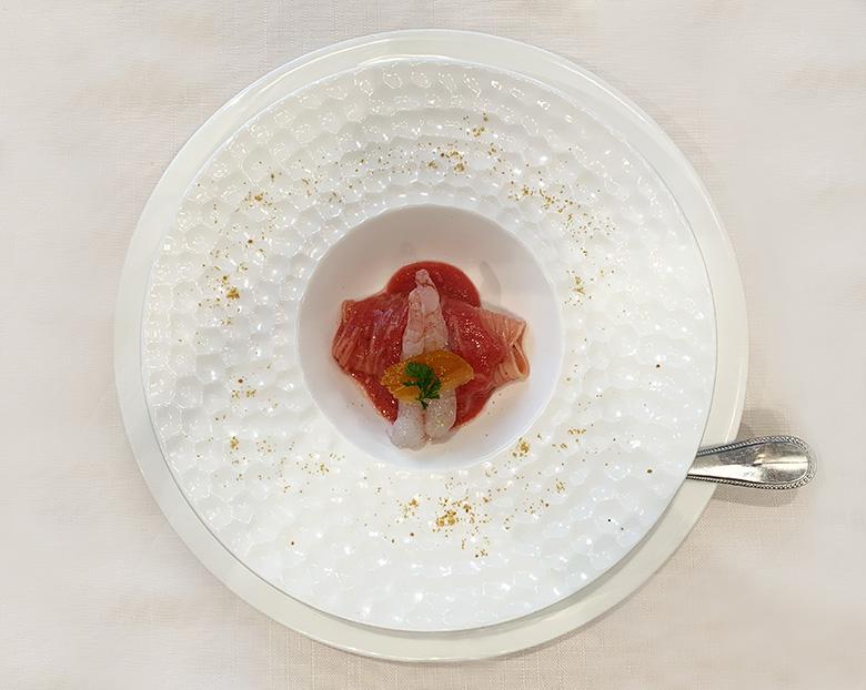 薩摩たか海老とフルーツトマトの冷製カッペリーニ