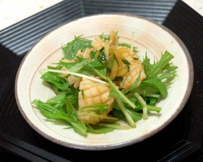 イカと水菜と揚げにんにくの和え物