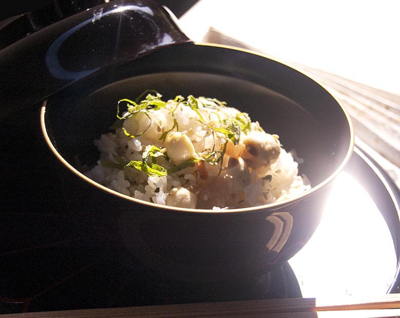 ハスの実・梅干し、シソの混ぜご飯