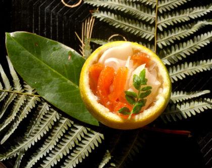 干し柿とかぶ、らっきょうの酢の物