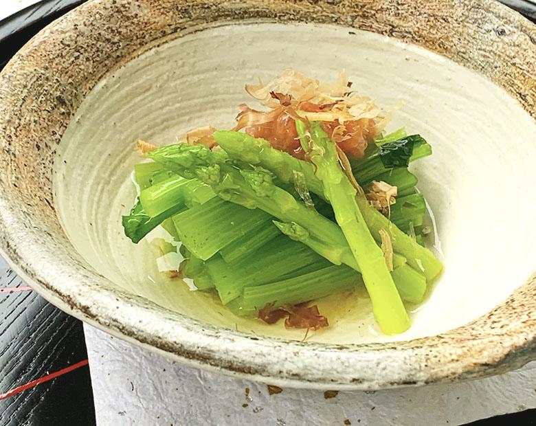 小松菜とアスパラガスのお浸し