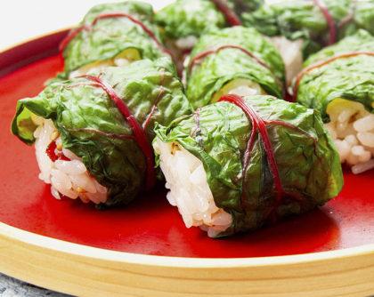 スイスチャードの梅寿司